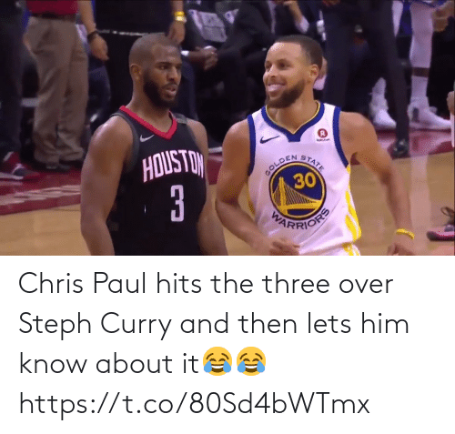 Chris Paul: Chris Paul hits the three over Steph Curry and then lets him know about it😂😂 https://t.co/80Sd4bWTmx