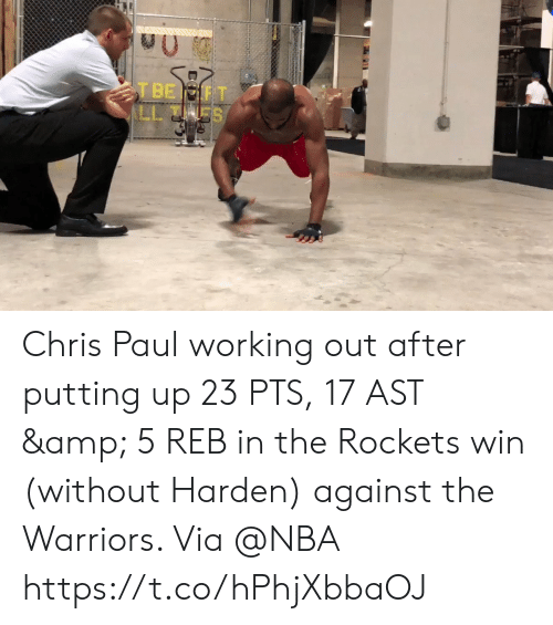 Chris Paul: Chris Paul working out after putting up 23 PTS, 17 AST & 5 REB in the Rockets win (without Harden) against the Warriors.   Via @NBA   https://t.co/hPhjXbbaOJ