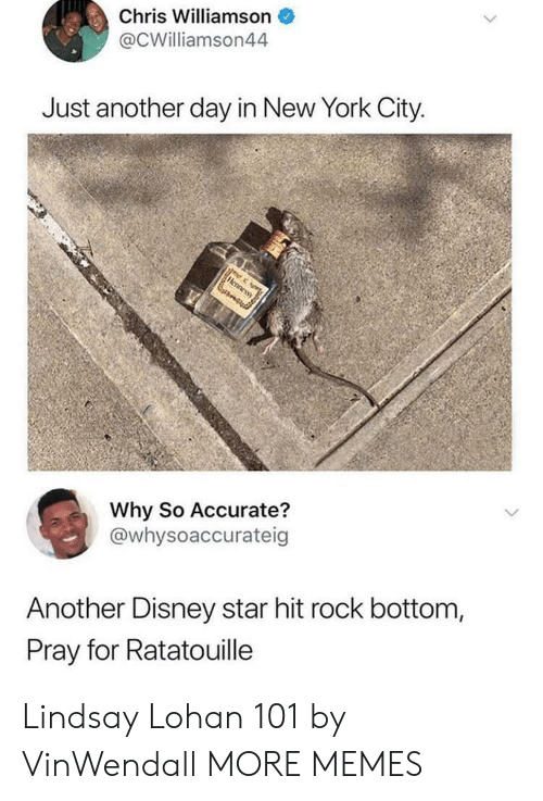 New York City: Chris Williamson  @CWilliamson44  Just another day in New York City  Why So Accurate?  @whysoaccurateig  Another Disney star hit rock bottom,  Pray for Ratatouille Lindsay Lohan 101 by VinWendall MORE MEMES