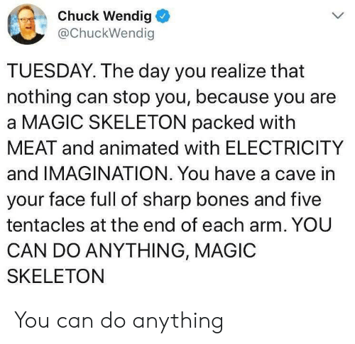 Bones, Magic, and Animated: Chuck Wendig  @ChuckWendig  TUESDAY. The day you realize that  nothing can stop you, because you are  a MAGIC SKELETON packed with  MEAT and animated with ELECTRICITY  and IMAGINATION. You have a cave in  your face full of sharp bones and five  tentacles at the end of each arm. YOU  CAN DO ANYTHING, MAGIC  SKELETON You can do anything