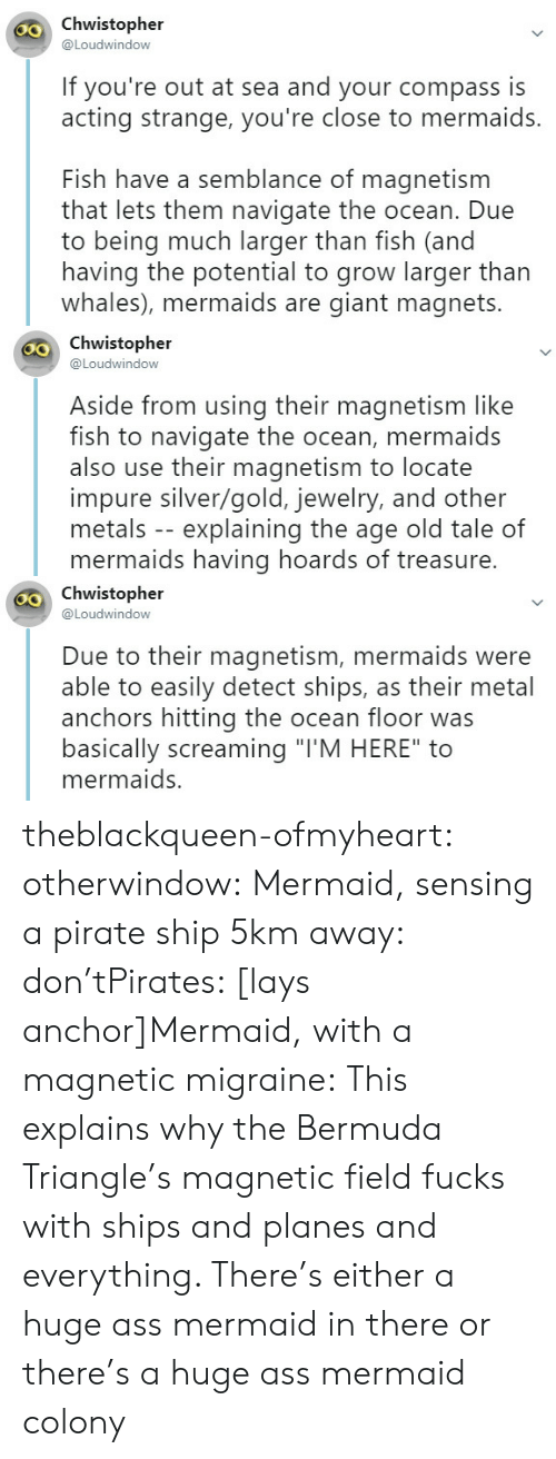 """Ass, Bermuda Triangle, and Lay's: chwistopher  @Loudwindow  30  If you're out at sea and your compass is  acting strange, you're close to mermaids.  Fish have a semblance of magnetism  that lets them navigate the ocean. Due  to being much larger than fish (and  having the potential to grow larger than  whales), mermaids are giant magnets.   Chwistopher  @Loudwindow  Aside from using their magnetism like  fish to navigate the ocean, mermaids  also use their magnetism to locate  impure silver/gold, jewelry, and other  metals -- explaining the age old tale of  mermaids having hoards of treasure.   o Chwistopher  @Loudwindow  Due to their magnetism, mermaids were  able to easily detect ships, as their metal  anchors hitting the ocean floor was  basically screaming """"TM HERE"""" to  mermaids. theblackqueen-ofmyheart: otherwindow:     Mermaid, sensing a pirate ship 5km away: don'tPirates: [lays anchor]Mermaid, with a magnetic migraine:     This explains why the Bermuda Triangle's magnetic field fucks with ships and planes and everything. There's either a huge ass mermaid in there or there's a huge ass mermaid colony"""