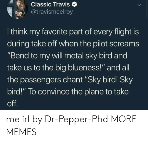 """Dank, Memes, and Target: Classic Traviso  @travismcelroy  I think my favorite part of every flight is  during take oft when the pilot screams  """"Bend to my vwill metal sky bird and  take us to the big blueness!"""" and all  the passengers chant """"Sky bird! Sky  bird!"""" To convince the plane to take me irl by Dr-Pepper-Phd MORE MEMES"""
