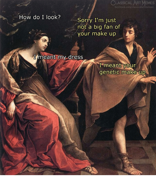Memes, Sorry, and Dress: CLASSICAL ART MEMES  memes  How do I look?  Sorry I'm just  not a big fan of  your make up  I meant my-dress  I meant your  genetic make up  0