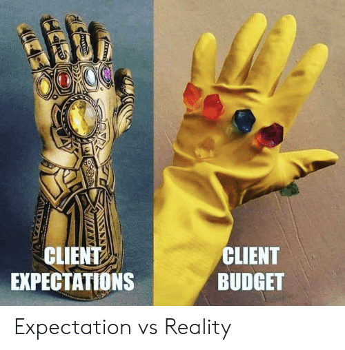 Budget: CLIENT  EXPECTATIONS  CLIENT  BUDGET Expectation vs Reality