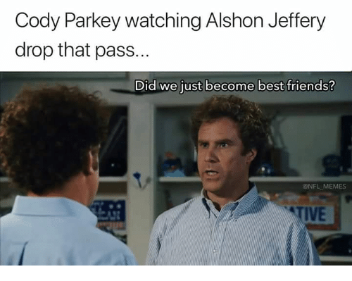 Friends, Memes, and Nfl: Cody Parkey watching Alshon Jeffery  drop that pass...  Did we just become best friends?  @NFL MEMES  TIVE