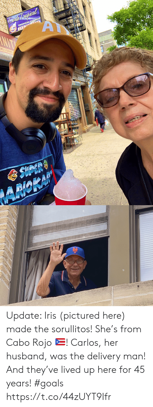 Goals, Memes, and Iris: Cofer spcal  A  TROPICAL CUT NYC  212-76 AULO  NIT  MS-OINING  olo3  AMOKAP Update: Iris (pictured here) made the sorullitos! She's from Cabo Rojo 🇵🇷! Carlos, her husband, was the delivery man! And they've lived up here for 45 years! #goals https://t.co/44zUYT9Ifr