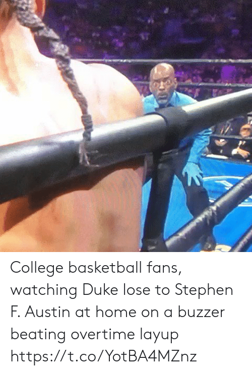 Stephen: College basketball fans, watching Duke lose to Stephen F. Austin at home on a buzzer beating overtime layup https://t.co/YotBA4MZnz