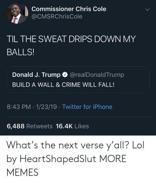 Drips: Commissioner Chris Cole  @CMSRChrisCole  TIL THE SWEAT DRIPS DOWN MY  BALLS!  Donald J. Trump @realDonaldTrump  BUILD A WALL & CRIME WILL FALL!  8:43 PM .1/23/19 Twitter for iPhone  6,488 Retweets 16.4K Likes What's the next verse y'all? Lol by HeartShapedSlut MORE MEMES