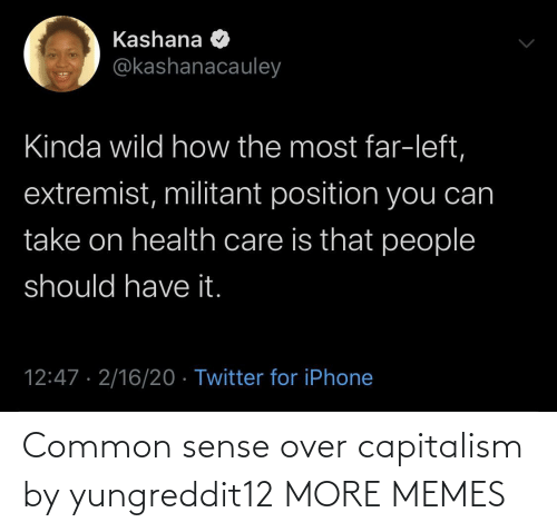 Capitalism: Common sense over capitalism by yungreddit12 MORE MEMES