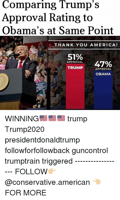 America, Memes, and Obama: Comparing Trump's  Approval Rating to  Obama's at Same Point  THANK YOU AMERICA!  51%  APPROVAL  47%  TRUMP  APPROVAL  OBAMA WINNING🇺🇸🇺🇸🇺🇸 trump Trump2020 presidentdonaldtrump followforfollowback guncontrol trumptrain triggered ------------------ FOLLOW👉🏼 @conservative.american 👈🏼 FOR MORE
