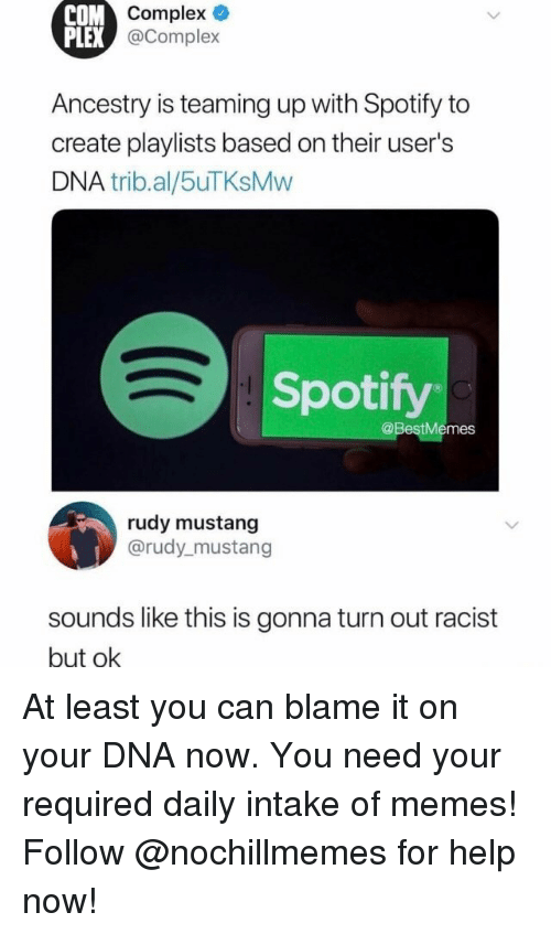 Complex, Memes, and Spotify: Complex  @Complex  COM  PLEX  Ancestry is teaming up with Spotify to  create playlists based on their user's  DNA trib.al/5uTKsMvw  Spotify  @BestMemes  rudy mustang  @rudy_mustang  soundslike this is gonna turn out racist  but ok At least you can blame it on your DNA now. You need your required daily intake of memes! Follow @nochillmemes for help now!