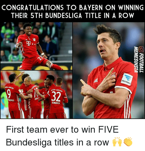 Kimmich: CONGRATULATIONS TO BAYERN ON WINNING  THEIR 5 TH BUNDESLIGA TITLE IN A ROW  G S  ermes  KIMMICH First team ever to win FIVE Bundesliga titles in a row 🙌👏