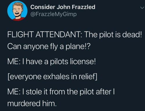 Flight, Flight Attendant, and Him: Consider John Frazzled  @FrazzleMyGimp  FLIGHT ATTENDANT: The pilot is dead!  Can anyone fly a plane!?  ME: I have a pilots license!  [everyone exhales in relief]  ME: I stole it from the pilot after l  murdered him