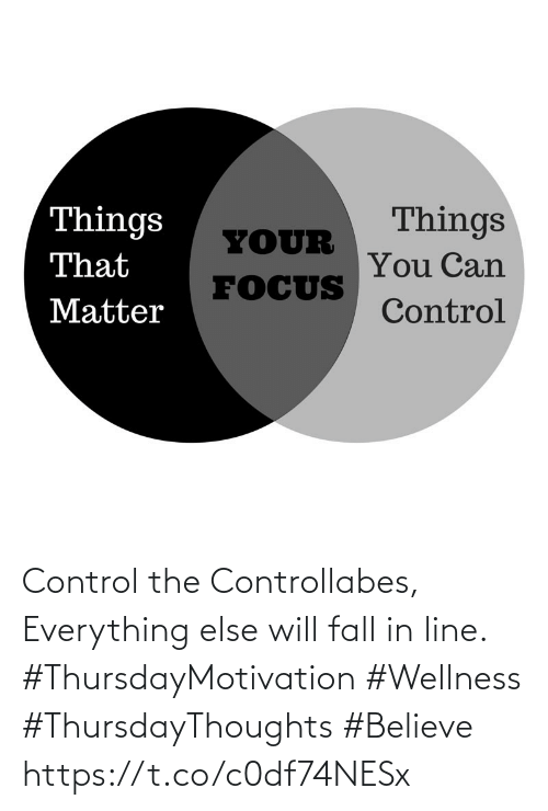 Love for Quotes: Control the Controllabes,  Everything else will fall in line.  #ThursdayMotivation #Wellness  #ThursdayThoughts #Believe https://t.co/c0df74NESx