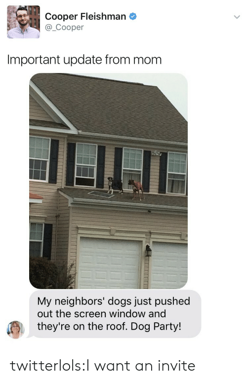 Dogs, Party, and Target: Cooper Fleishman e  @_Cooper  Important update from mom   My neighbors' dogs just pushed  out the screen window and  they're on the roof. Dog Party! twitterlols:I want an invite
