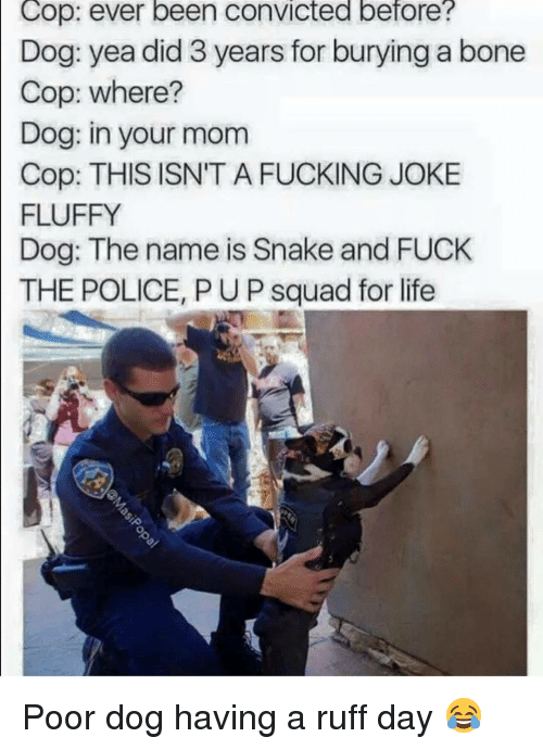 Squadding: Cop: ever been convicted before?  Dog: yea did 3 years for burying a bone  Cop: where?  Dog: in your mom  Cop: THIS ISN'T A FUCKING JOKE  FLUFFY  Dog: The name is Snake and FUCK  THE POLICE, PUP squad for life Poor dog having a ruff day 😂