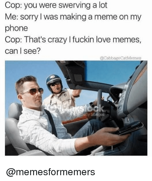 Love Memes: Cop: you were swerving a lot  Me: sorry l was making a meme on my  phone  Cop: That's crazy I fuckin love memes,  can I see?  @cabbageCatMemes @memesformemers