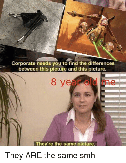 Smh, Old, and Corporate: Corporate needs you to find the differences  between this picture and this picture.  8 year old me  They're the same picture They ARE the same smh