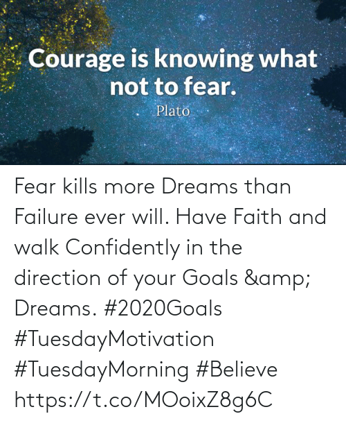 Love for Quotes: Courage is knowing what  not to fear.  Plato Fear kills more Dreams than Failure ever will. Have Faith and walk Confidently in the direction  of your Goals & Dreams.  #2020Goals #TuesdayMotivation  #TuesdayMorning #Believe https://t.co/MOoixZ8g6C