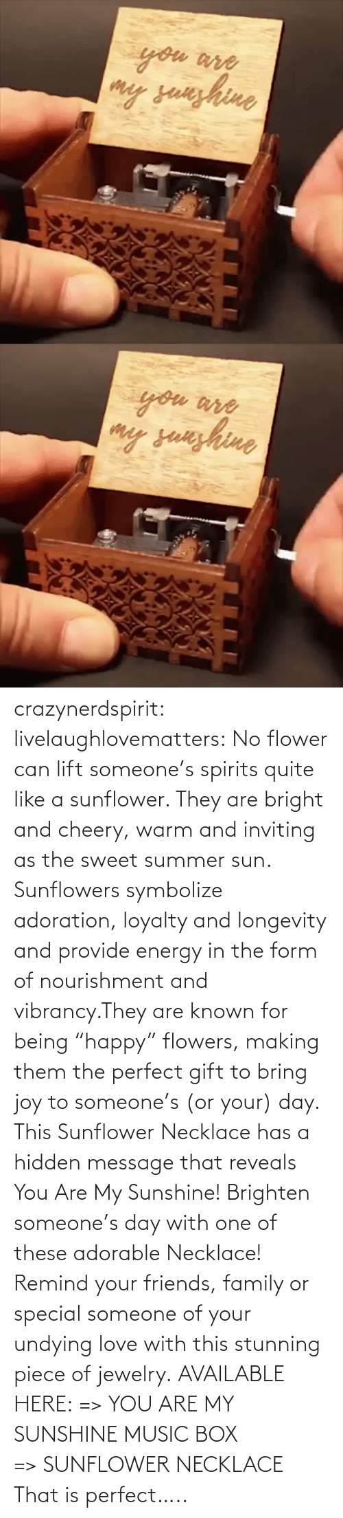 """My Sunshine: crazynerdspirit: livelaughlovematters:   No flower can lift someone's spirits quite like a sunflower. They are bright and cheery, warm and inviting as the sweet summer sun. Sunflowers symbolize adoration, loyalty and longevity and provide energy in the form of nourishment and vibrancy.They are known for being """"happy"""" flowers, making them the perfect gift to bring joy to someone's (or your) day. This Sunflower Necklace has a hidden message that reveals You Are My Sunshine! Brighten someone's day with one of these adorable Necklace! Remind your friends, family or special someone of your undying love with this stunning piece of jewelry. AVAILABLE HERE: =>YOU ARE MY SUNSHINE MUSIC BOX =>SUNFLOWER NECKLACE    That is perfect….."""