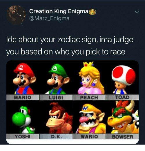 Bowser, Wario, and Mario: Creation King Enigma  @Marz_Enigma  ldc about your zodiac sign, ima judge  you based on who you pick to race  MARIO  LUIGI  PEACH  TOAD  YOSHI  D.K. WARIO  BOWSER
