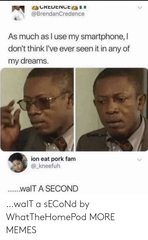 pork: CREDENCE LI  @BrendanCredence  As much as l use my smartphone, I  don't think I've ever seen it in any of  my dreams.  will ent  ion eat pork fam  @_kneefuh  ...walT A SECOND …waIT a sECoNd by WhatTheHomePod MORE MEMES