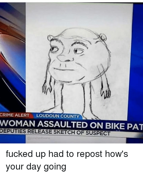 Crime, Memes, and Bike: CRIME ALERT  LOUDOUN COUNTY  WOMAN ASSAULTED ON BIKE PAT  DEPUTIES RELEASE SKETCH OF SUSPECT fucked up had to repost how's your day going