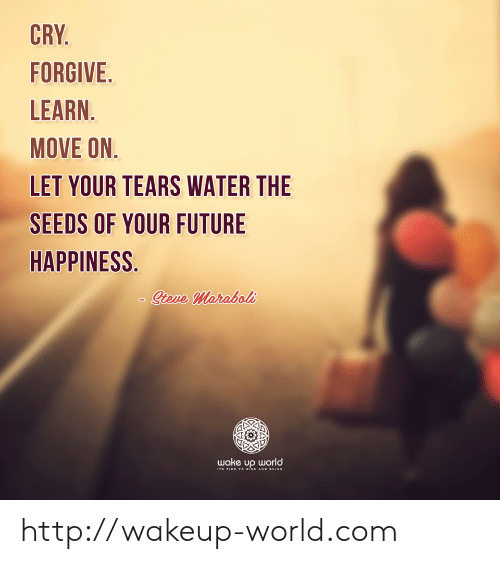 Future, Http, and Time: CRY.  FORGIVE  LEARN.  MOVE ON.  LET YOUR TEARS WATER THE  SEEDS OF YOUR FUTURE  HAPPINESS.  Sieve Maraboli  wake up world  STS TIME TO ise ano sHINE http://wakeup-world.com