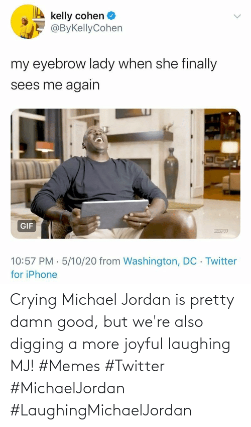Crying: Crying Michael Jordan is pretty damn good, but we're also digging a more joyful laughing MJ! #Memes #Twitter #MichaelJordan #LaughingMichaelJordan