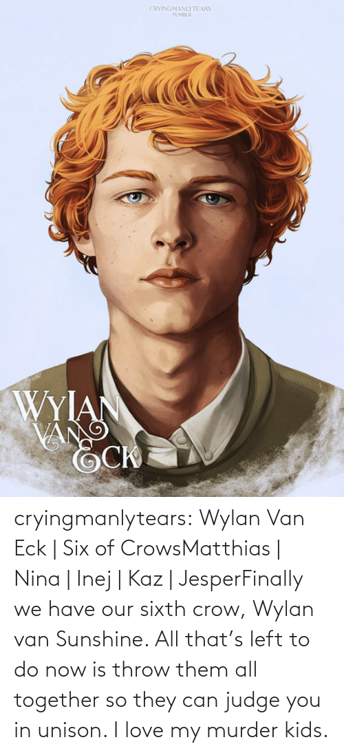 judge: CRYINGMANLYTEARS  TUMBLR  WYIAN  VANG cryingmanlytears:  Wylan Van Eck | Six of CrowsMatthias | Nina | Inej | Kaz | JesperFinally we have our sixth crow, Wylan van Sunshine. All that's left to do now is throw them all together so they can judge you in unison. I love my murder kids.