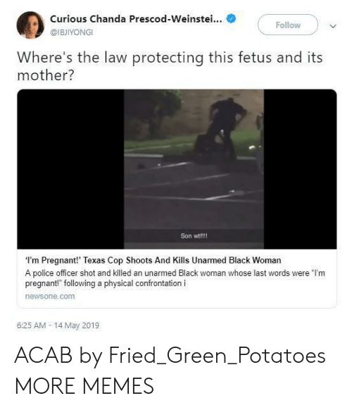 """Dank, Memes, and Police: Curious Chanda Prescod-Weinstei...  @IBJIYONGI  Follow  Where's the law protecting this fetus and its  mother?  Son wtf!!!  I'm Pregnant!' Texas Cop Shoots And Kills Unarmed Black Woman  A police officer shot and killed an unarmed Black woman whose last words were """"l'm  pregnant!"""" following a physical confrontation i  newsone.comm  6:25 AM- 14 May 2019 ACAB by Fried_Green_Potatoes MORE MEMES"""