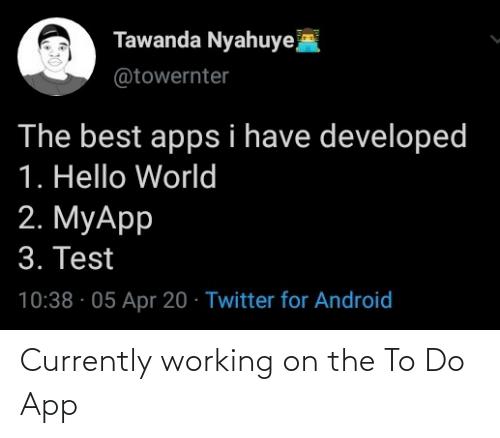 app: Currently working on the To Do App