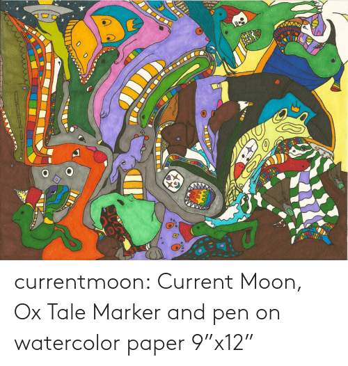 "Moon: currentmoon: Current Moon, Ox Tale Marker and pen on watercolor paper 9""x12"""