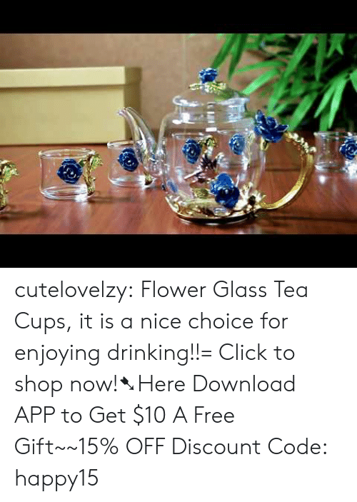 Click, Drinking, and Target: cutelovelzy:  Flower Glass Tea Cups, it is a nice choice for enjoying drinking!!= Click to shop now!➷Here Download APP to Get $10  A Free Gift~~15% OFF Discount Code: happy15