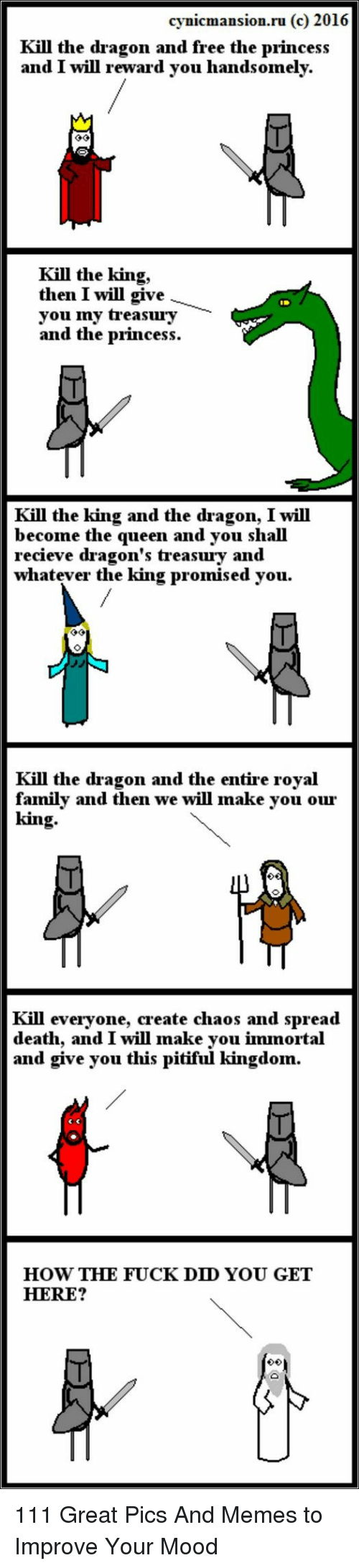 Family, Memes, and Mood: cynicmansion.ru (c) 2016  Kill the dragon and free the princes:s  and I will reward vou handsomely.  Kill the king,  then I will give  you ny treasury  and the princess.  Kill the king and the dragon, I will  become the queen and you shall  recieve dragon's treasury and  whatever the king promised you.  Kill the dragon and the entire royal  family and then we will make you our  king  Kill everyone, create chaos and spread  death, and I will make you immortal  and give you this pitiful kingdon.  HOW THE FUCK DD YOU GET  HERE? 111 Great Pics And Memes to Improve Your Mood