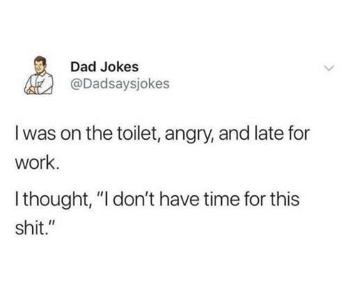 "Dad, Shit, and Work: Dad Jokes  @Dadsaysjokes  I was on the toilet, angry, and late for  work.  Ithought, ""I don't have time for this  shit."""
