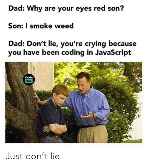 smoke: Dad: Why are your eyes red son?  Son: I smoke weed  Dad: Don't lie, you're crying because  you have been coding in JavaScript  Code  hub Just don't lie