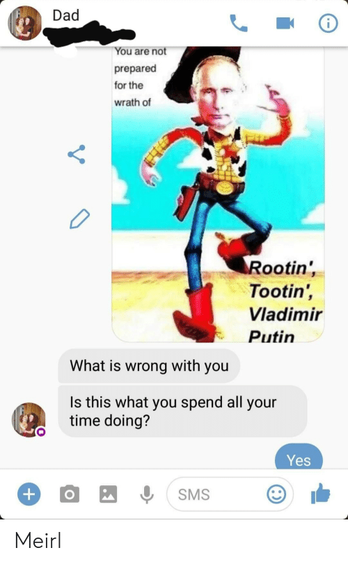 Vladimir: Dad  You are not  prepared  for the  wrath of  Rootin'  Tootin',  Vladimir  Putin  What is wrong with you  Is this what you spend all your  time doing?  Yes  +  SMS Meirl