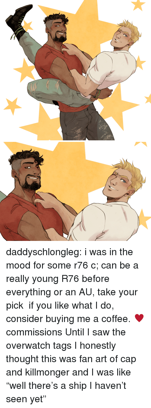 """Mood, Saw, and Tumblr: daddyschlongleg:  i was in the mood for some r76 c; can be a really young R76 before everything or an AU, take your pick  if you like what I do, consider buying me a coffee. ♥commissions    Until I saw the overwatch tags I honestly thought this was fan art of cap and killmonger and I was like """"well there's a ship I haven't seen yet"""""""