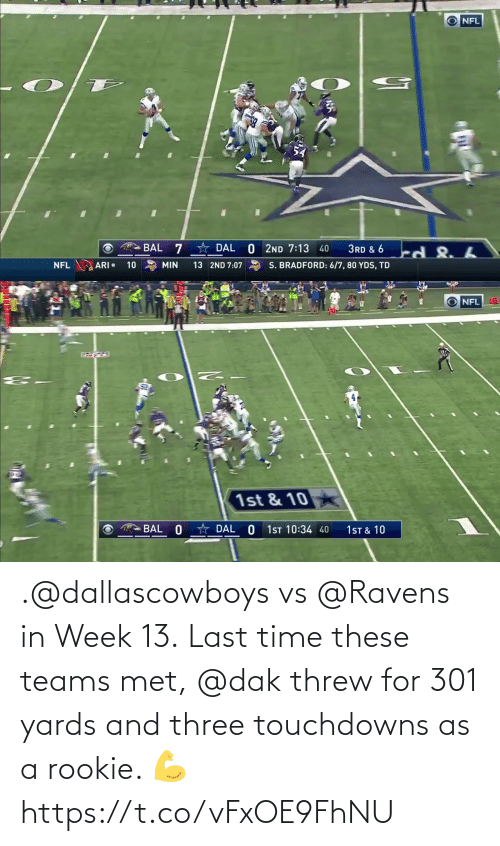 Met: .@dallascowboys vs @Ravens in Week 13.  Last time these teams met, @dak threw for 301 yards and three touchdowns as a rookie. 💪 https://t.co/vFxOE9FhNU