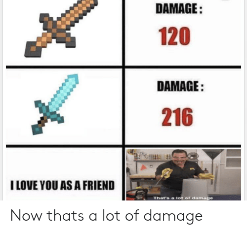 Love, I Love You, and Dank Memes: DAMAGE:  120  DAMAGE:  216  I LOVE YOU AS A FRIEND  That's a lot of damage Now thats a lot of damage