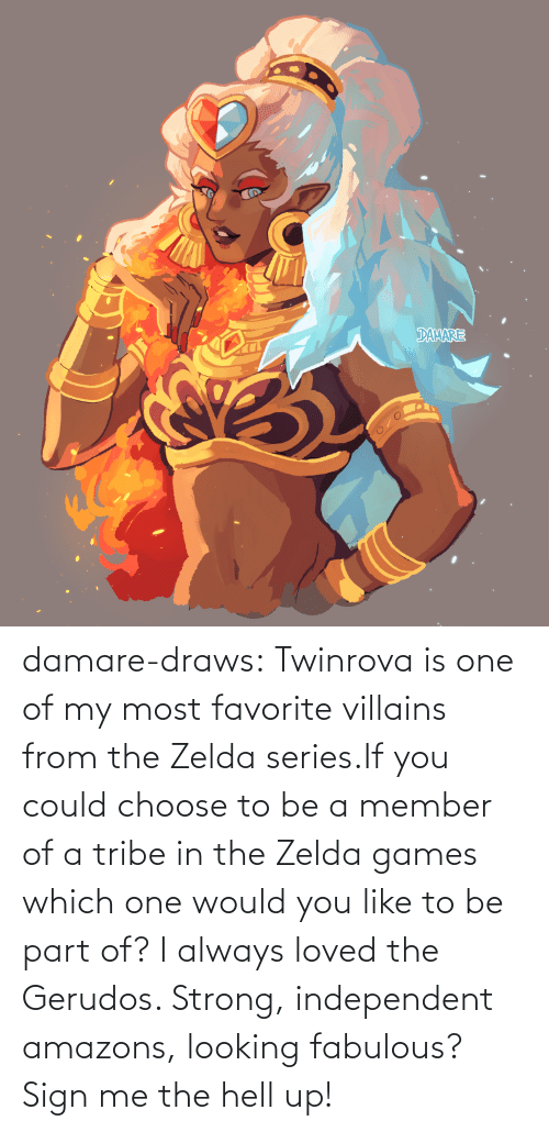 which one: damare-draws:    Twinrova is one of my most favorite villains from the Zelda series.If you could choose to be a member of a tribe in the Zelda games which one would you like to be part of? I always loved the Gerudos. Strong, independent amazons, looking fabulous? Sign me the hell up!