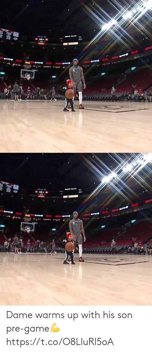 son: Dame warms up with his son pre-game💪 https://t.co/O8LluRl5oA