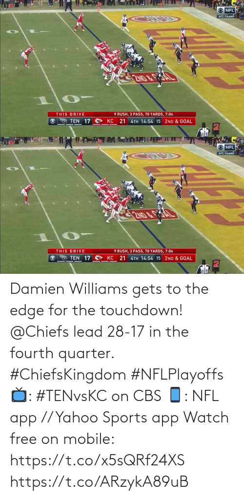 CBS: Damien Williams gets to the edge for the touchdown!  @Chiefs lead 28-17 in the fourth quarter. #ChiefsKingdom #NFLPlayoffs  📺: #TENvsKC on CBS 📱: NFL app // Yahoo Sports app Watch free on mobile: https://t.co/x5sQRf24XS https://t.co/ARzykA89uB