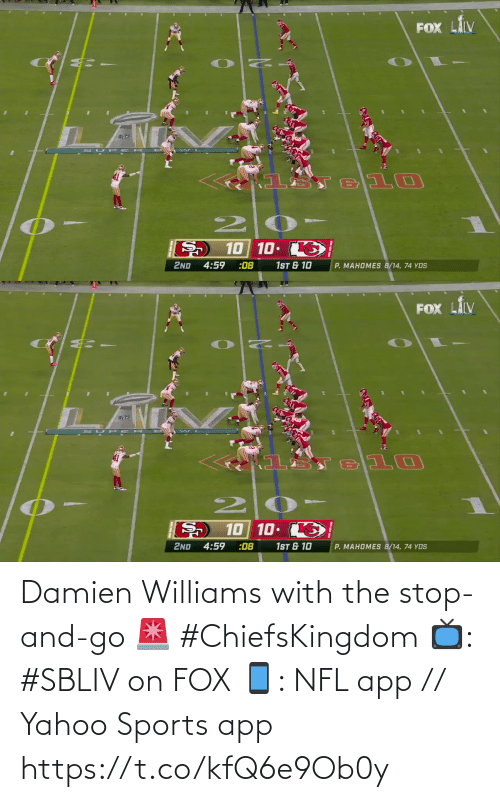Yahoo: Damien Williams with the stop-and-go 🚨 #ChiefsKingdom  📺: #SBLIV on FOX 📱: NFL app // Yahoo Sports app https://t.co/kfQ6e9Ob0y