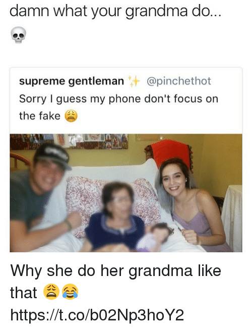 fakings: damn what your grandma do.  supreme gentleman @pinchethot  Sorry I guess my phone don't focus on  the fake Why she do her grandma like that 😩😂 https://t.co/b02Np3hoY2