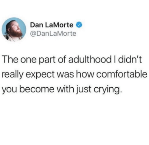 Comfortable, Crying, and How: Dan LaMorte  @DanLaMorte  The one part of adulthood I didn't  really expect was how comfortable  you become with just crying