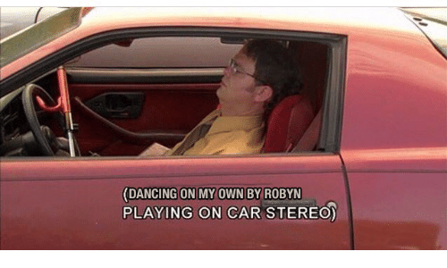 Dancing, Car, and Robyn: (DANCING ON MY OWN BY ROBYN  PLAYING ON CAR STEREO)