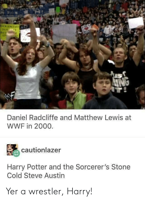 Daniel Radcliffe: Daniel Radcliffe and Matthew Lewis at  WWF in 2000.  cautionlazer  Harry Potter and the Sorcerer's Stone  Cold Steve Austin Yer a wrestler, Harry!