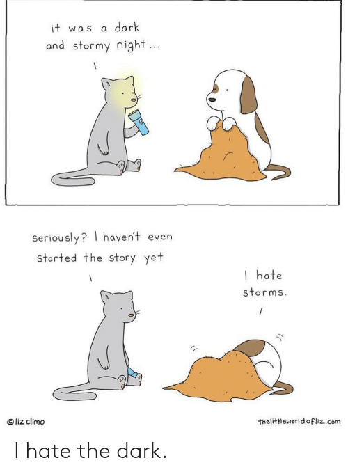 Liz Climo: dark  it was  and stormy night...  Seriously? haven't even  storted the Story yet  I hate  storms.  liz climo  thelittleworld ofliz.com I hate the dark.
